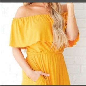 Anama Golden yellow off the shoulder dress